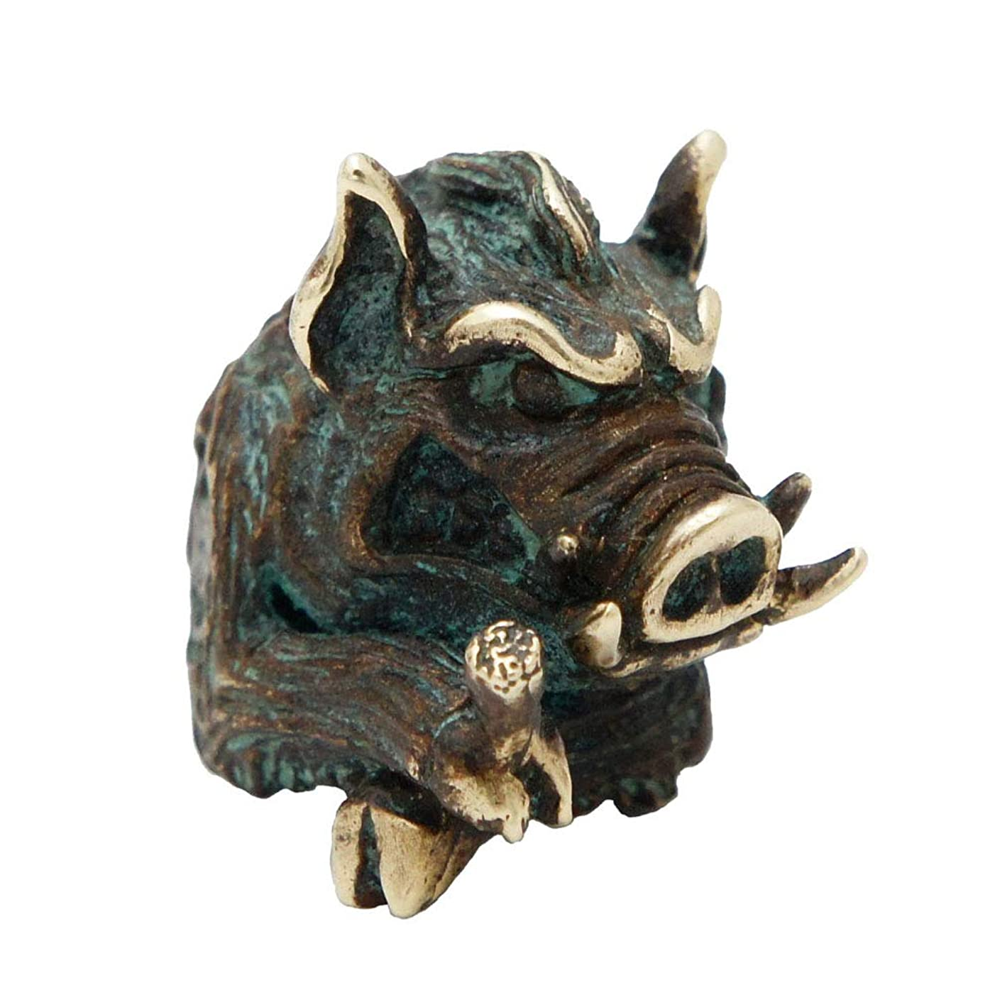 Metalfable Wild?Boar Paracord Bead Hand-Casted, Bronze Charms EDC Accessories for Pendant Buckle,Keychain Pendant,Knife Lanyard,Zipper Pull