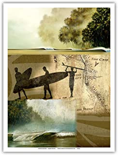 Pacifica Island Art - Surfers Journal Entry 43 - Chasing Waves - Original Collage Art by Wade Koniakowsky - Master Art Pri...