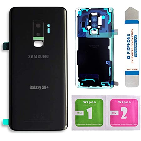 OEM Back Glass Door Cover Housing Installed Camera Frame Lens Adhesive Replacement for Samsung Galaxy S9 Plus G965 (Black)