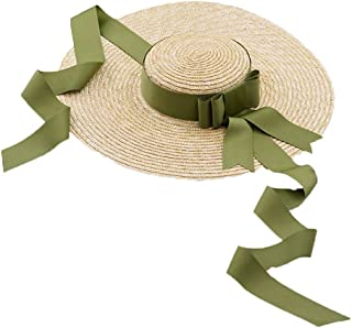 Hat Natural Straw with Bow-tie Straw Hat Beach Sun Hat,Formal and Polite
