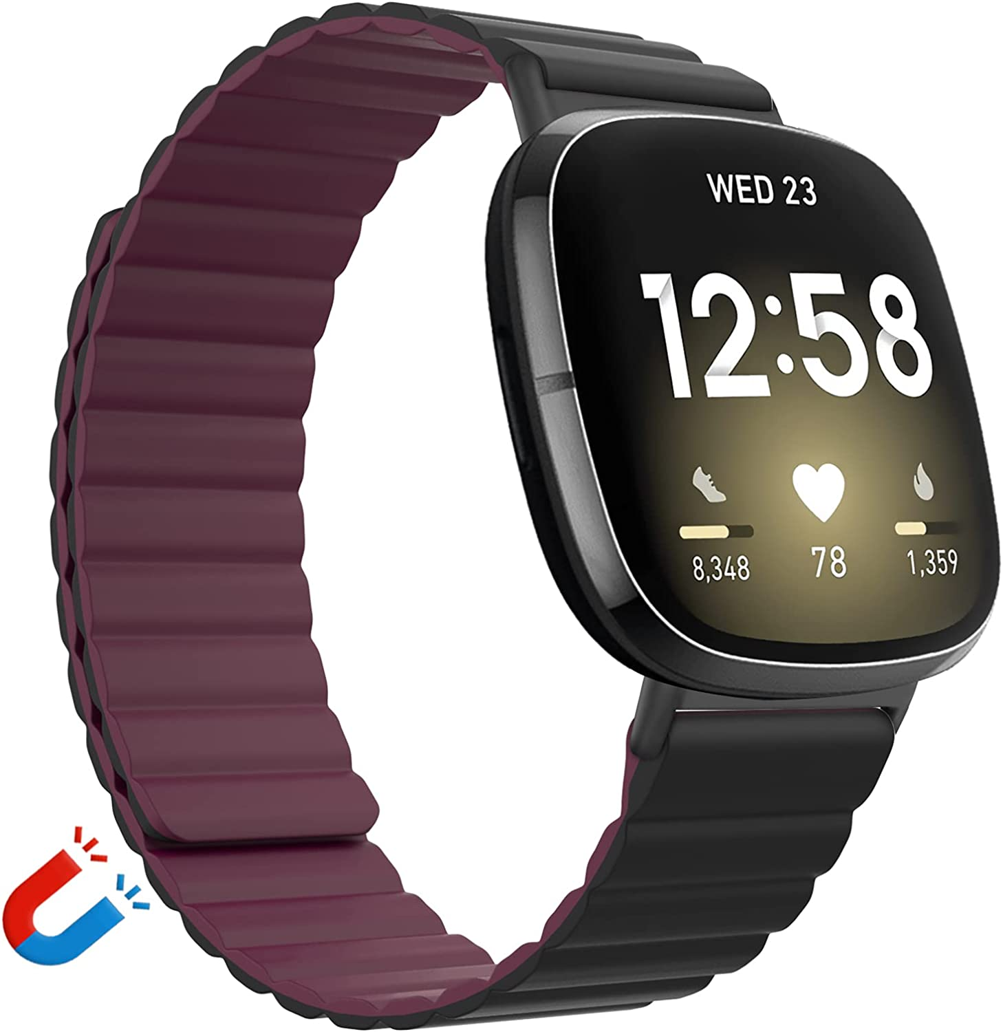 Vanet Silicone Magnetic Bands Compatible with Fitbit Versa 3/Fitbit Sense Bands for Women Men, Adjustable Silicone Loop Strap with Magnetic Closure Bands for Versa 3 Women, Small-Black with Wine Red