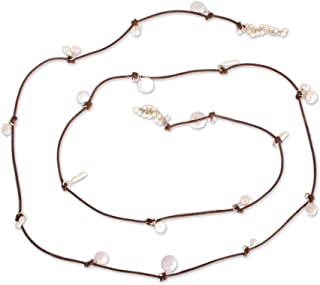 Cultured Freshwater & Keshi Pearls .925 Silver Leather Necklace, Rustic Treasure in Brown'