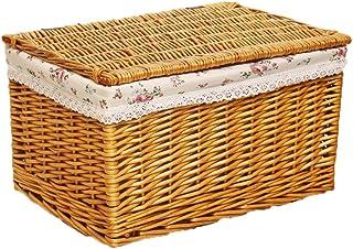 77SRF Stockage Panier, Panier de Rangement Boîte de Rangement Finition rotin Boîte avec des vêtements Couvercle Jouet Lit ...