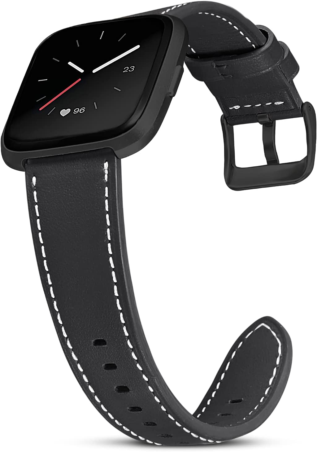 SKYLET Bands Compatible with Fitbit Versa 2/Fitbit Versa Men Women, Soft Classic Genuine Leather Replacement Accessories Wristband for Versa Lite/Versa SE with Black
