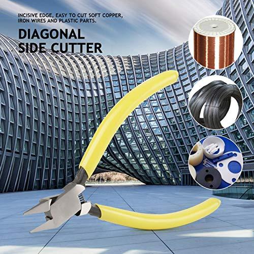 Cortador de alambre diagonal con mango recubierto de plástico, pinza diagonal de acero con alto contenido de carbono, para cortar alambres de hierro de cobre blando
