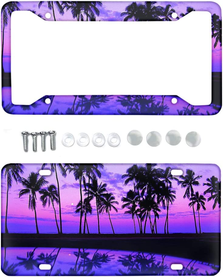 Jiueut Purple Sunset Beach Time sale Austin Mall Palm Print Tree Aluminum Licens Metal
