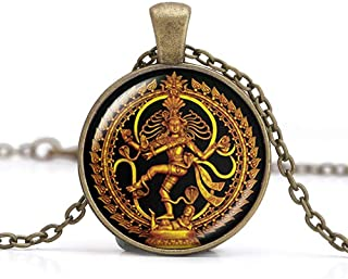 Golden Buddha Necklace, Dance of Destruction Lord Shiva Pendant, Glass Dome Buddhist Jewelry, Deity Spiritual Amulet Necklace