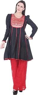 Devaleena Creations Black Cotton Silk-Red Brocade yoke Anarkali with Smocking Sleeves for Girls