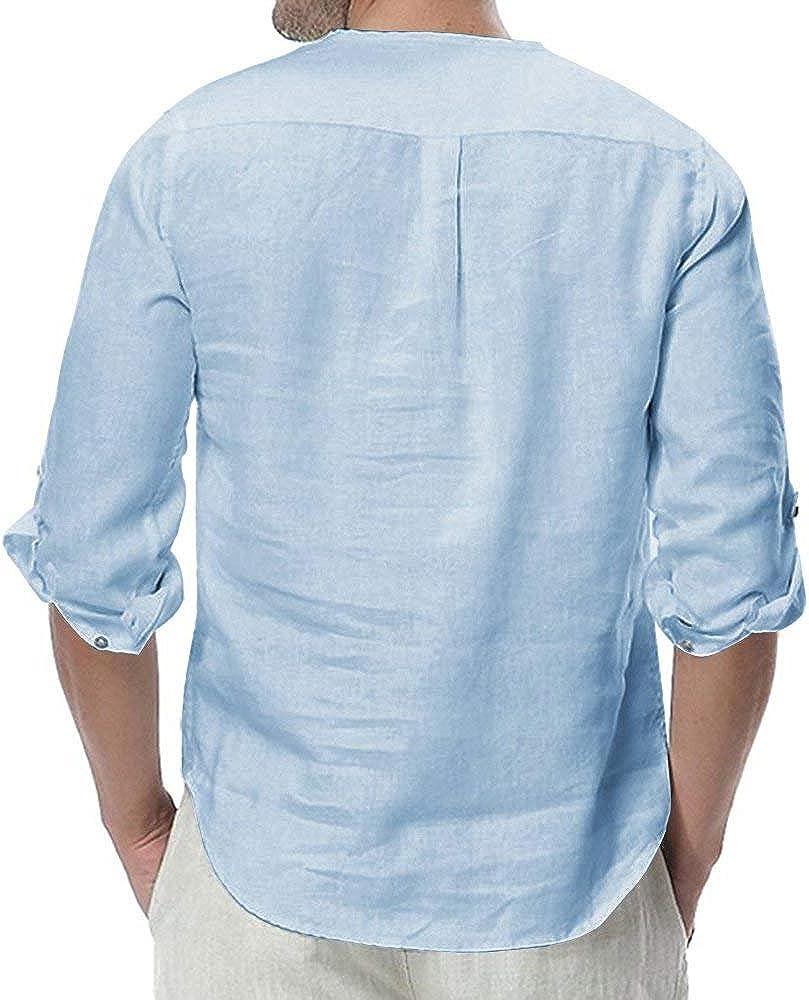 manadlian Chemise Homme Automne Hiver Manches Longues Chemise en Lin et Conton Tops Casual Respirant Col Boutonn/é T Shirt Blouse Ete Tee Shirt Hauts