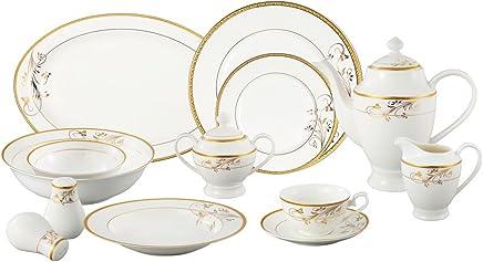 Lorren Home Trends La Luna Bone China 57-Piece 24K Gold Floral Design Dinnerware  Set 76ffe809ea
