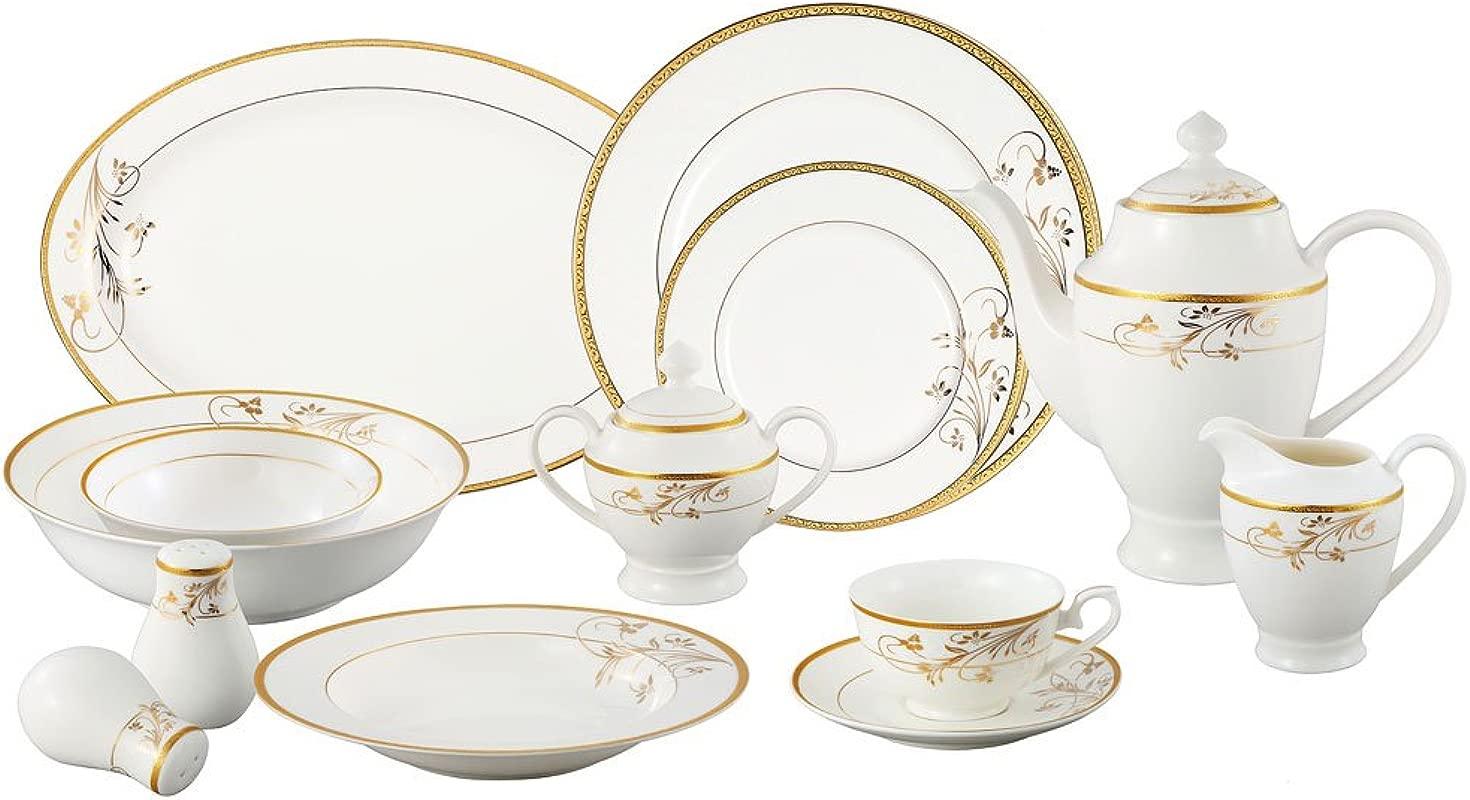 Lorren Home Trends La Luna Bone China 57 Piece 24K Gold Floral Design Dinnerware Set Service For 8