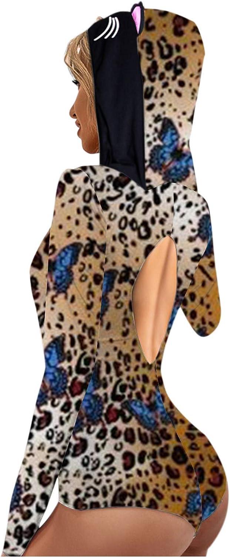Romper Onesie for Women,Hooded Pajamas Jumpsuit Bodycon Sleepwears Hoodies Sexy Deep V Backless Ladies Rompers Playsuit