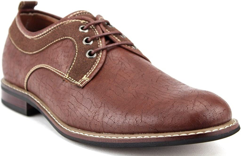 Men's 19257D Distressed Round Toe Lace Up Oxfords Casual Dress Shoes