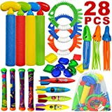 ToyerBee Diving Toys, Pool Swimming Toys with Water Gun, 28 PCS Underwater Toys with a Storage Bag for Kids &Teens & Adults & Girls & Boys &Children Outdoor Gift Pool Toys in Summer&Pool Party
