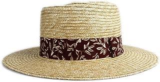 Bin Zhang Summer Autumn Sun Hat Straw Ms. Panama Flat Cap Bowling Jazz Hat Red Cloth Strip Print Decoration