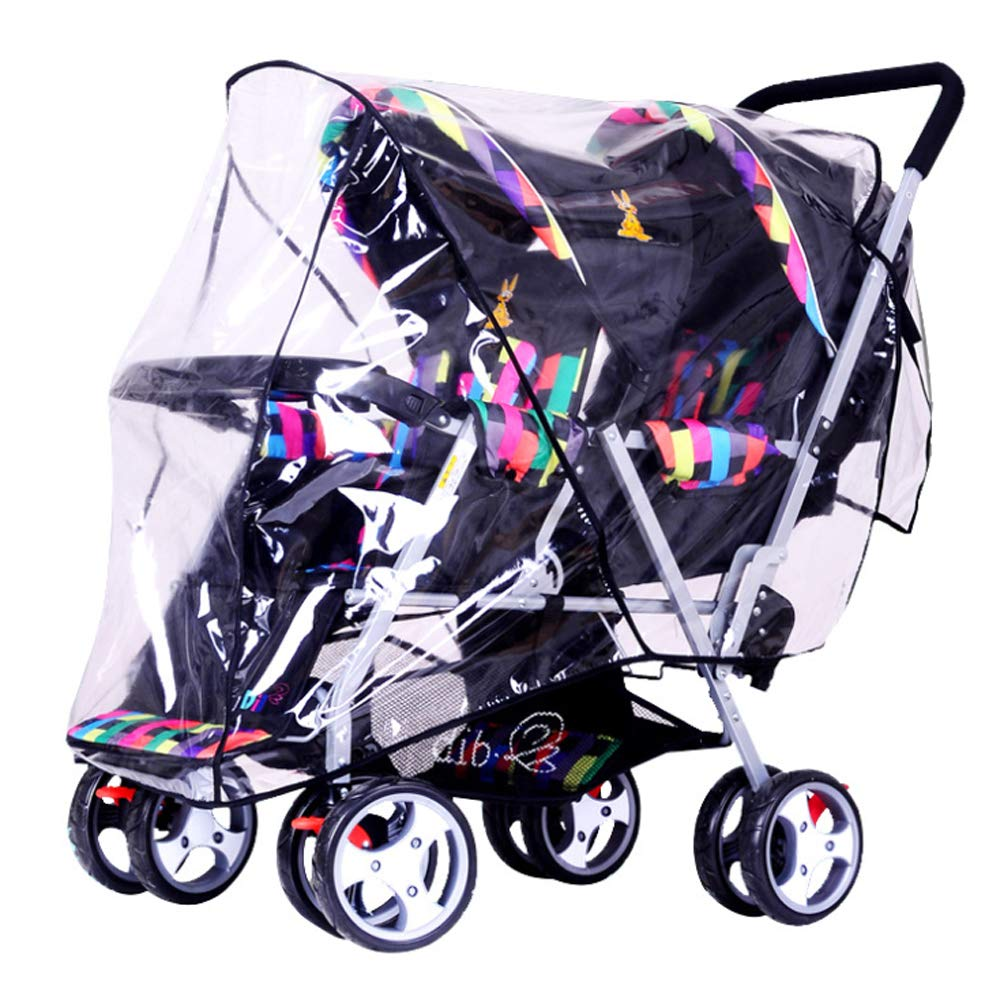 Universal Stroller Raincover Twins Strollers Double & Tandem Pushchairs rain Cover for Pram Rainproof Dustproof Windproof Rain Cover with Canopy and Zipper Door