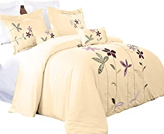 6PC Embroidered Full size South Garden Ivory Comforter Set.
