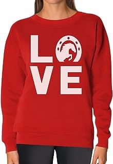TeeStars - Love Horses - Animal Lover Rearing Horse - Horseshoe Women Sweatshirt