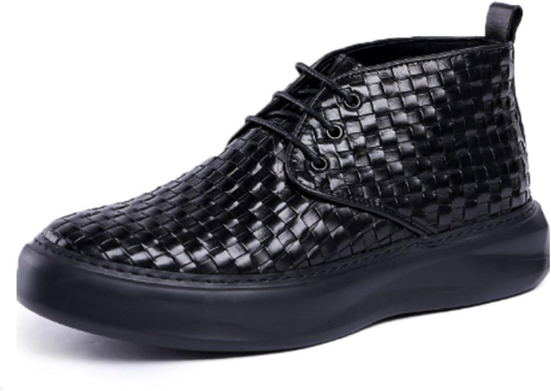 NIUMJ Martin Boots herrar Leather Leather Leather skor England skor Booslipss Leather skor High -top skor Korea skor Trend skor Wedges Round Heads  för att ge dig en trevlig online shopping