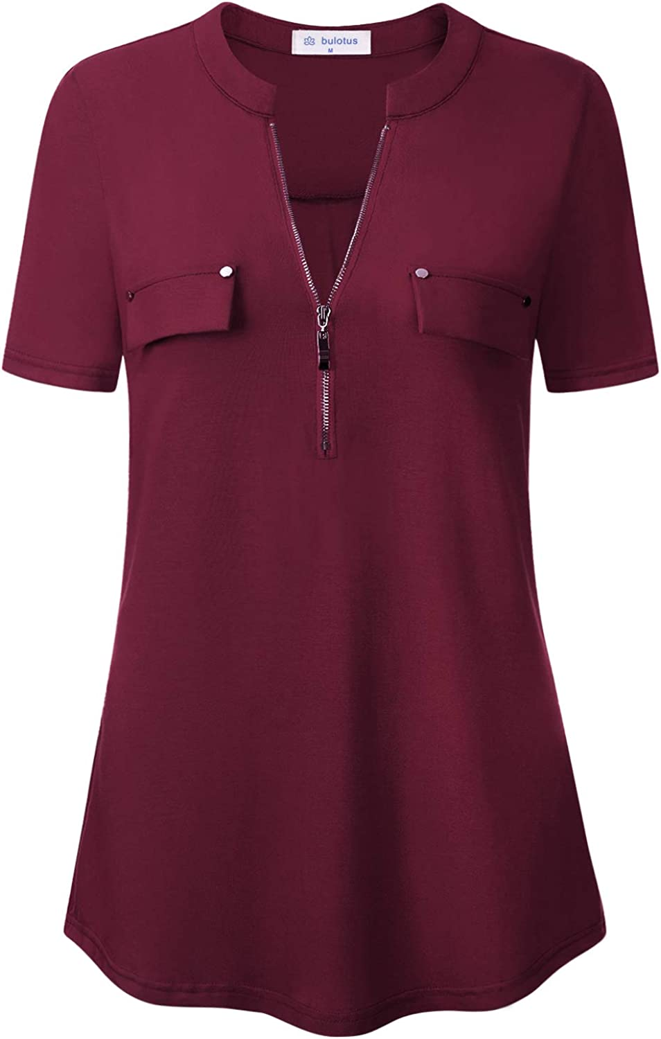 Bulotus Women's Zip Front V-Neck Short Work Top Credence Max 84% OFF Sleeve Casual Bl