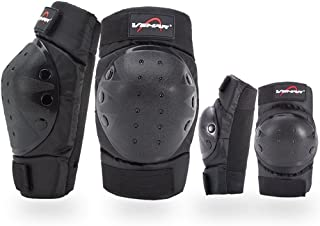 Rungear Shin Guards Adult Elbow & Knee Pads Protector Flexible Breathable Adjustable Elbow Armor for Motorcycle Motocross Racing Mountain Bike,  One size Fits Most, 4 Pieces Black