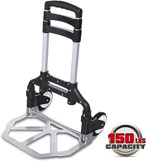 Modera Carrito de equipaje plegable portátil de aluminio, multifunción, resistente, camiones de mano, 150LBS, 2