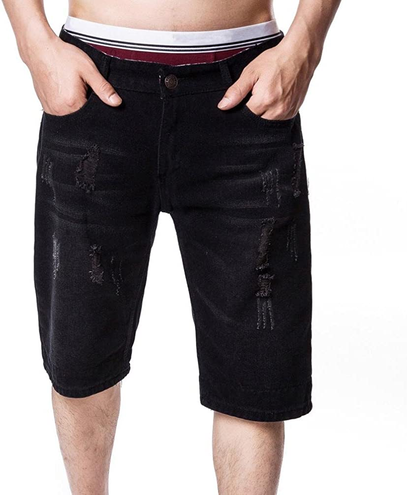 RAISINGTOP Fashion Men Casual Capri Jeans Below Knee Length Ripped Hole Slim Fit Shorts Denim Pants Medium Outdoor