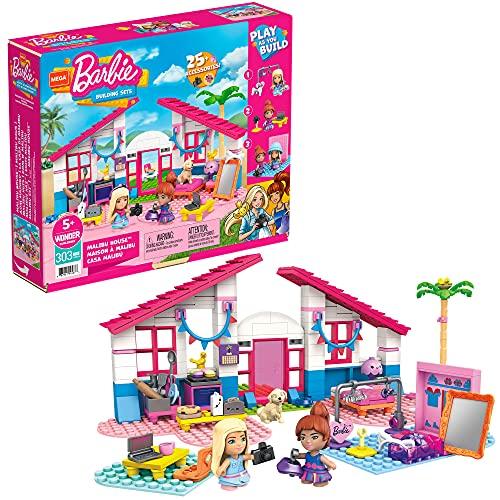 Mega Construx- Barbie La Casa di Malibu, Set con 2 Micro Bambole Barbie, 1 Cucciolo, 2 Uccellini, 303 Mattonicini da Costruzione e Accessori, Giocattolo per Bambini 5+Anni, GWR34