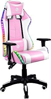 KZKR - Silla de juegos para ordenador con luz ajustable, respaldo y reposabrazos ajustable 4D con reposacabezas cojín lumbar masajeador giratorio 360º, color rosa