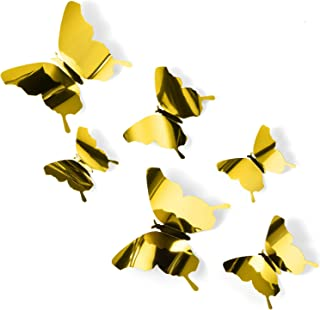 BBTO 36 Pieces DIY Mirror Butterfly Combination 3D Mirror Wall Stickers Home Decoration (Gold)