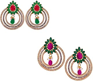 Combo of (Pack of Two Earrings Set) Tradisyon Bollywood Celebrity Inspired Floral Multicolor Contemprary Cum Ethnic Earring With Ad & Green, Red, Pink Drop Earrings By Kaizer Jewelry