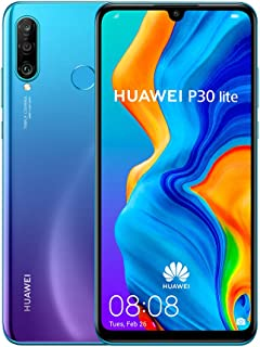 "Huawei P30 Lite (128GB, 4GB RAM) 6.15"" Display, AI Triple Camera, Dual SIM Global GSM Factory Unlocked MAR-LX3A - International Version, No Warranty (Peacock Blue)"