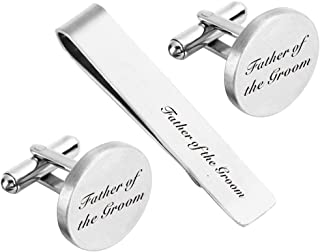 Father of The Bride Cufflink Engraved Text Personalized Wedding Stepfather Stepdad Tie Clip Tack