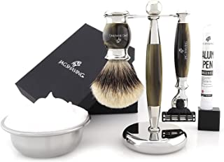 Jag Shaving Scheerset - 3-delige scheerset - Jag's Lee Range - 3 Edge Scheermes - Silvertip Badger Scheerkwast - Elegante ...