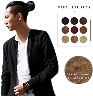Fast Hair Bun for Men REECHO Hair Extensions Chignon Synthetic 3 inches in Diameter Size Small Color Chestnut brown & Blonde Mixed