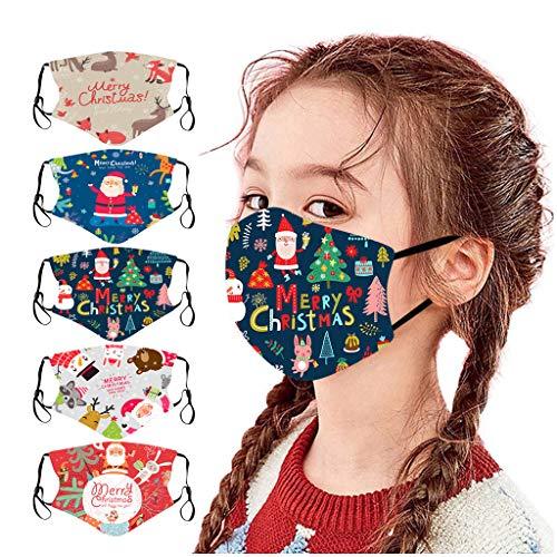 Jasinto Baumwolle Mundschutz für Kinder Junge Mädchen, Bandana Halstuch Nasenschutz Schlauchtuch Multifunktionstuch, Waschbar Nasen und Lippen Schutz, Weihnachten Schneeflocke Elch, 5er Pack (B)