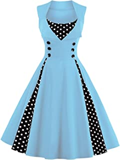 a83b26c5a4 Killreal Women s Polka Dot Retro Vintage Style Cocktail Party Swing Dresses