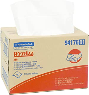 WypAll 94176 WypAll X80 Single Sheet Wipers, White, Case of 150 Wipers, White 2.570 kilograms