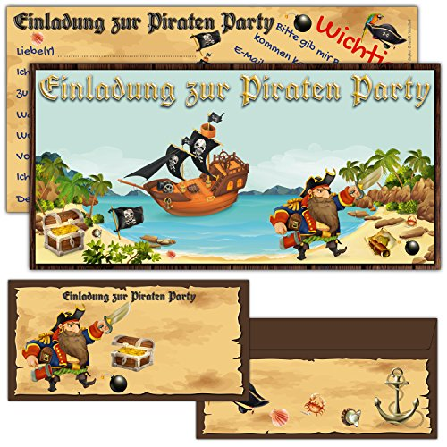 BREITENWERK 12er Karten-Set Piraten Einladungskarten inklusive Umschläge - Geburtstag-Einladungen für Jungen / Mädchen Kindergeburtstag Party