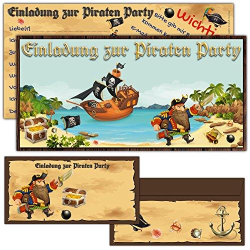 12er Karten-Set PIRATEN Einladungskarten inklusive Umschläge - Geburtstag-Einladungen für Jungen / Mädchen Kindergeburtstag Party von BREITENWERK®