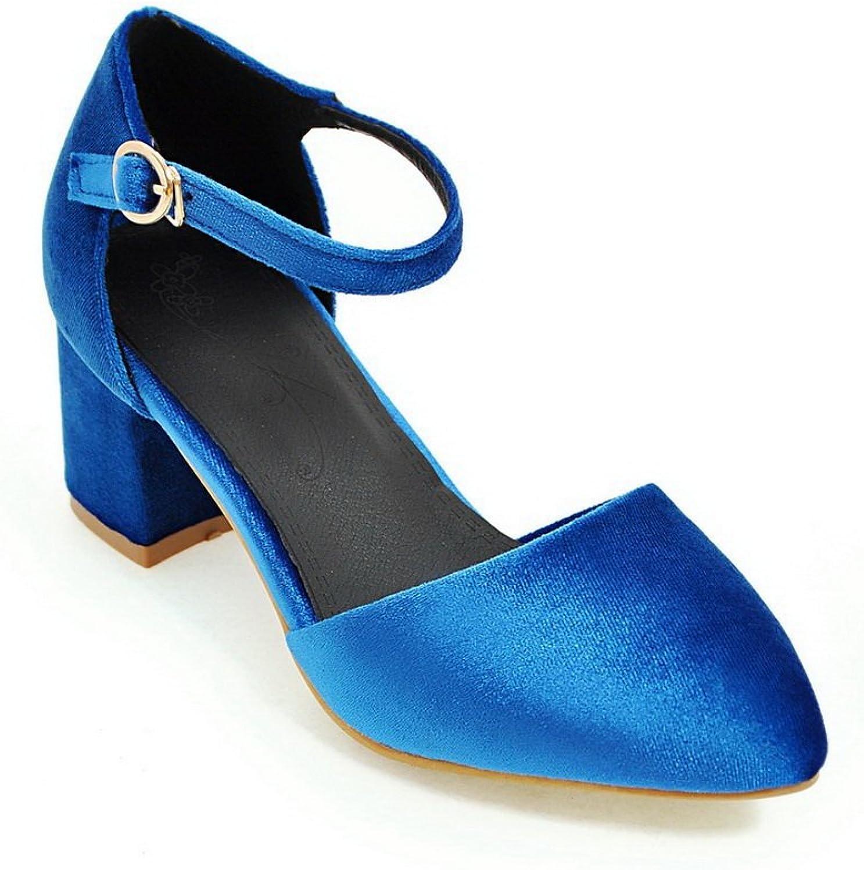 BalaMasa Ladies Pointed-Toe Chunky Heels Metal Buckles Urethane Pumps shoes