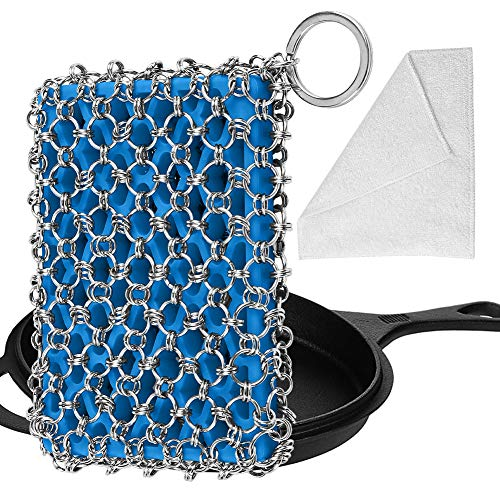 Herda Cast Iron Skillet Cleaner,Upgraded Chainmail Scrubber Set Silicone Insert with Bamboo Fiber Cloth,316 Stainless Steel 3D Chain Metal Scrubber Scraper for Castiron Pan,Griddle,Baking Pan (Blue)