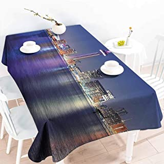 GOMAE Creative Rectangle Tablecloth Blue Canada Toronto Sunset Over The Lake Panorama Urban City Skyline with Night Lights Blue Pink Peach Buffet,Parties,Holiday Dinner,Picnic 70x84