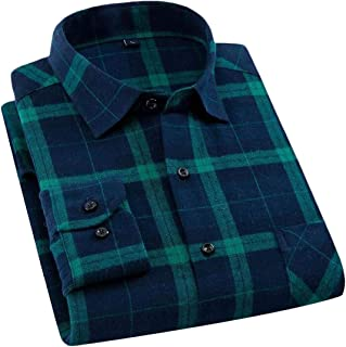 MK988 Men Button Up Shirt Flannel Casual Long Sleeve Plaid Print Flannel Checkered Shirt