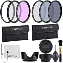 49mm 52mm 55mm 58mm 62mm 67mm 72mm 77mm 82mm CPL FLD ND2 ND4 ND8 Lens Filters Kit with Pouch Photography Tackle Carry Pouch Lens Hood Lens Cap Clean Cloth Brush 58mm