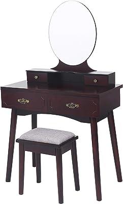 ANWBROAD Coiffeuse Moderne Table de Maquillage en MDF et en Bois de pin avec Miroir sans Cadre, Organiseur de Maquillage Amovible 4 tiroirs, 3 séparateurs et rails pour chambre Dressing Marron BDT02Z