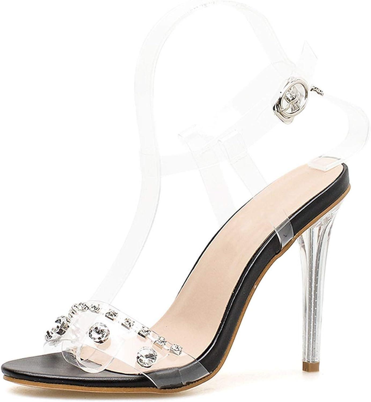 Women Sandals shoes Ankle Strap High Heels PVC Clear Crystal shoes Buckle Sandals High Heel shoes Women