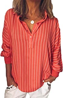 Unko Women's Loose Casual Striped Button Lapel Long Sleeve Shirt Top Blouse