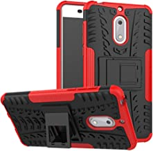Case for Nokia 6 Case Cover,Case for Nokia 6 Arte Black Case Shockproof Mobile Phone Case Stand Red
