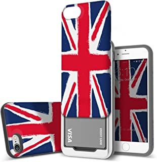 Design Skin iPhone 8 Sliding Card Holder Case, Extreme Heavy Duty Triple Layer Bumper Protection Wallet Cover with Storage Slot for Slider iPhone 8/7 - Union Jack